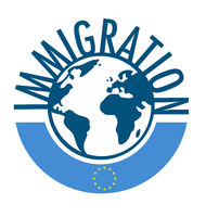 Immigration word concept around the world with european flag