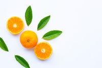 Fresh orange citrus fruit on white.