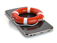 Smartphone with lifebelt isolated on white background. Mobile phone emergency service or support online concept