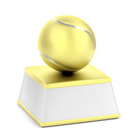 Golden trophy with tennis ball