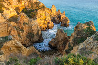 Limestone cliffs near Lagos, Portugal, Europe