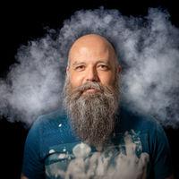 bearded man smoke portrait