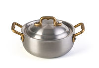 Stainless saucepan on white