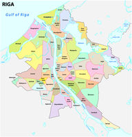 administrative and district map of latvia capital riga