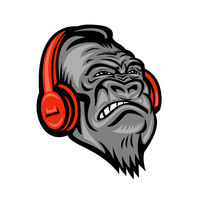 Gorilla Headphones Head Mascot Retro