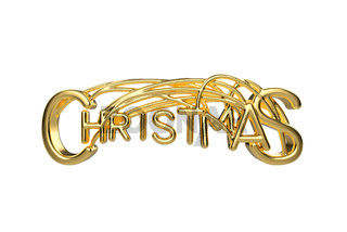 Christmas elegant golden lettering word with letters bound by strings isolated on white background. Holyday 3D illustration