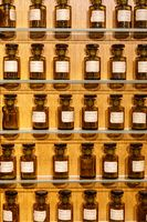 Paris, France, March 27 2017: Perfume bottles at the Museum Fragonard, Paris. The House of Fragonard selling perfumery products directly to the tourists