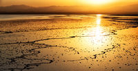 ethiopia africa the sunset reflex  in the   salt  lake