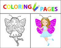 Coloring book page for kids. Girl butterfly carnival costume. Sketch outline and color version. Childrens education. Vector illustration.