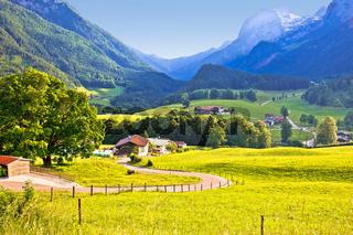 Ramsau valley in Berchtesgaden Alpine region landscape view