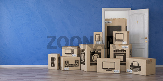Household kitchen appliances and home electronics in cardboard boxes and open door. E-commerce, internet online shopping and delivery concept.