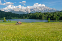 Alpine Lake and flowering meadow in Bavaria
