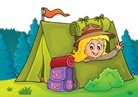Scout girl in tent theme 2