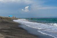 Pomorie Spit. The shore of the Black Sea. Bulgaria.