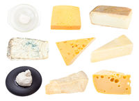 collage from various cheeses isolated on white