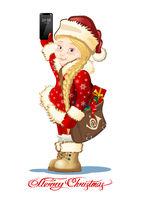 Vector Christmas card with cartoon Snow Maiden - Postman