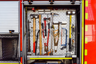 Valencia, Spain - June 8, 2019: Tools carried by a fire truck to solve emergencies.