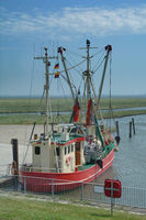 Harbor of Suederhafen on Nordstrand Peninsula,North sea,North Frisia,Germany