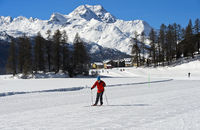 Cross-country skier skiing on the frozen lake Champfersee, Engadin valley, Grisons, Switzerland