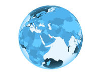 Qatar on blue globe isolated