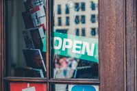 open sign in shop window - open sign in store entrance -