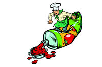 Little chef squeezes ketchup. Cooking food