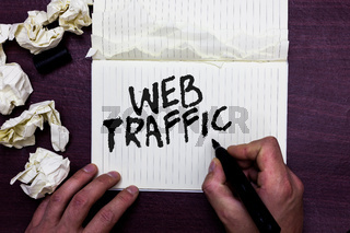Word writing text Web Traffic. Business concept for Amount of data sent and received by visitors to a website Man holding marker notebook page crumpled papers several tries mistakes.