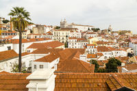 view of the old town of Lisbon with Monastery São Vicente de Fora, Lisbon, Portugal