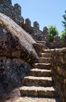 The steps to the top of of curtain walls. Castle of the Moors. Sintra. Portugal