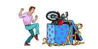 Man and motorcycle holiday gift box, isolate on white background