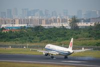 Air China Airbus A321 Neo commercial airplane landing in Chengdu