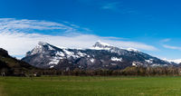panorama mountain landscape in the Rhine Valley of Switzerland near Sargans
