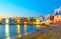 Little Venice in Mykonos at night