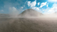 Cinematic panorama of beautiful Mount Bromo volcano with desert in East Java