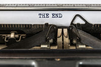 Vintage typewriter with text the end