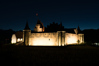 Aigle, VD / Switzerland - 31 May 2019: the historic castle at Aigle in the Swiss canton of Vaud at night