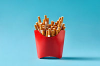 Many cigarettes in red carton