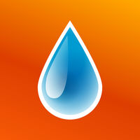 Blue drop of clean pure water icon isolated, washing sticker, fresh aqua droplet, vector illustration.
