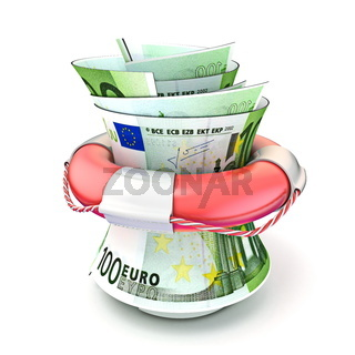 Red lifebuoy saving money, roll euro. 3D