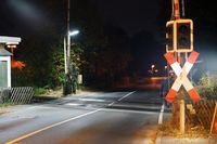 Railway crossing in the night