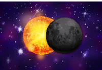 Realistic eclipse on colorful purple deep space background with bright stars and constellations