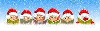 Children and Santa are reading books for Christmas.eps