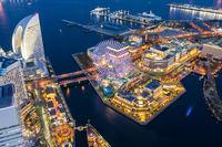 Yokohama city aerial view
