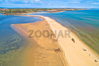Adriatic town of Nin sandbar beach aerial view