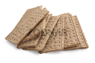 Crispbread with bran of white background
