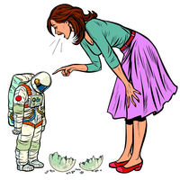 Woman scolds astronaut. The guilty destroyed moon isolate on white background