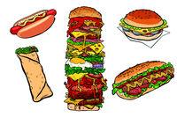 collection set fast food kebab Burger hot dog Shawarma Doner