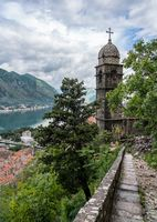 Step path by church above Old Town of Kotor in Montenegro