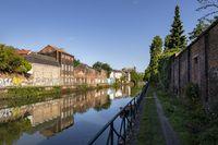 Ghent, Belgium - June 19, 2019: The Visserijvaart canal on a summer day