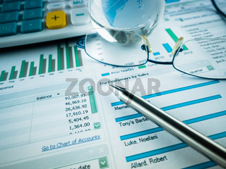 Stock Market Finance Account Report on the desk.